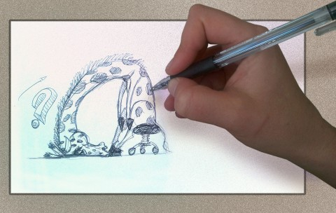 Artists hand drawing her state of mind, as an exhausted giraffe.